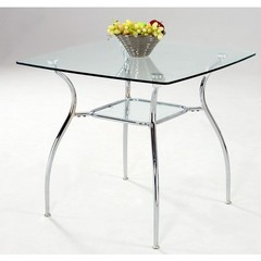 Buy Chintaly Imports Daisy 33 Inch Square Dining Table w/ Glass Top on sale online