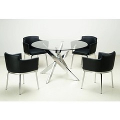 Buy Chintaly Imports Dusty 5 Piece 47 Inch Round Dining Table Set in Black on sale online