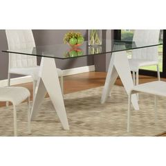 Buy Chintaly Imports Fielding 63x36 Rectangular Dining Table w/ Glass Top in White on sale online