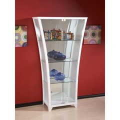 Buy Chintaly Imports Flair Modern Flair Bar w/ Raised Glass Shelf in White on sale online