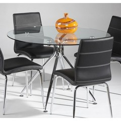 Buy Chintaly Imports Gail 45 Inch Round Dining Table w/ Glass Top on sale online