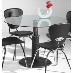 Buy Chintaly Imports Gladys 42 Inch Round Dining Table w/ Glass Top on sale online