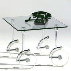 Buy Chintaly Imports Glass Caster Lamp Table on sale online