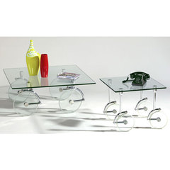 Buy Chintaly Imports Glass Caster Occasional Table Set on sale online
