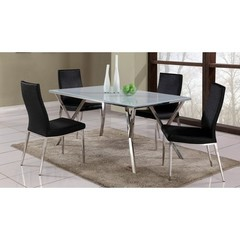 Buy Chintaly Imports Jade 5 Piece 61x35 Dining Table Set w/ High Contour Back Side Chairs on sale online