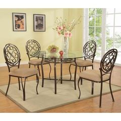 Buy Chintaly Imports Lily 5 Piece 48x48 Round Dining Room Set in Brown on sale online
