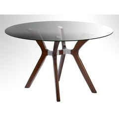 Buy Chintaly Imports Luisa 48 Inch Round Dining Table w/ Glass Top on sale online