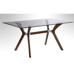 Buy Chintaly Imports Luisa 60x36 Rectangular Dining Table w/ Glass Top on sale online
