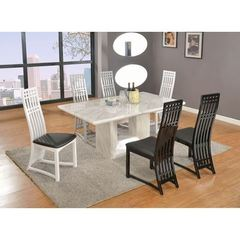 Buy Chintaly Imports Margaret 7 Piece 71x40 Rectangular Dining Room Set in White, Grey on sale online