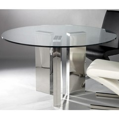 Buy Chintaly Imports Sabrina 51 Inch Round Dining Table w/ Glass Top on sale online