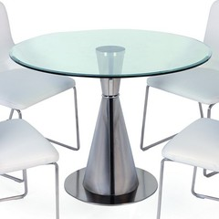 Buy Chintaly Imports Sharon 47x47 Round Dining Table w/ Glass Top on sale online
