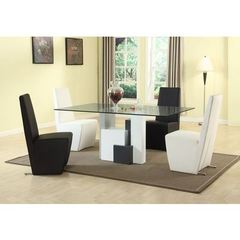 Buy Chintaly Imports Shelley 5 Piece 70x42 Rectangular Dining Room Set w/ Fully Upholstered Modern Side Chairs in Black, White on sale online