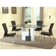 Buy Chintaly Imports Shelley 5 Piece 70x42 Rectangular Dining Room Set w/ Motion Back Side Chairs in Black, White on sale online