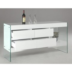 Buy Chintaly Imports Sofia Buffet w/ Glass Side Panel and 4 Drawers on sale online