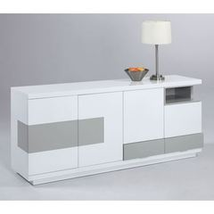 Buy Chintaly Imports Summer Modern 4-Door Buffet in White, Grey on sale online