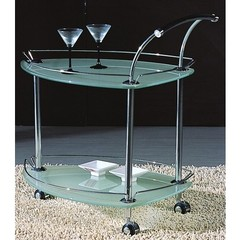 Buy Chintaly Imports 30x19 Triangular Tea Cart in Frosted and Chrome on sale online