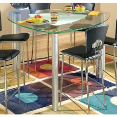 Buy Chintaly Imports Tracy 57 Inch Triangular Counter Table w/ Glass Top on sale online