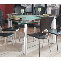 Buy Chintaly Imports Tracy 57 Inch Triangular Dining Table w/ Glass Top on sale online