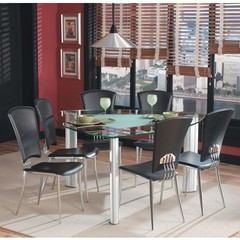 Buy Chintaly Imports Tracy 7 Piece 57 Inch Triangular Dining Table Set in Black on sale online