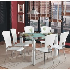Buy Chintaly Imports Tracy 7 Piece 57 Inch Triangular Dining Table Set in White on sale online