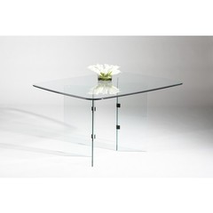Buy Chintaly Imports V Base 60x30 Rectangular Dining Table w/ Glass Top on sale online
