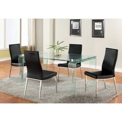 Buy Chintaly Imports Vera 5 Piece 63x35 Modern Dining Table Set w/ Jamila Side Chairs on sale online