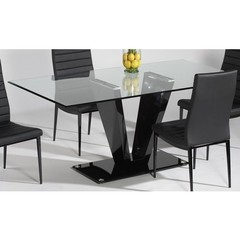 Buy Chintaly Imports Victoria 71x36 Modern Rectangular Dining Table w/ Glass Top on sale online