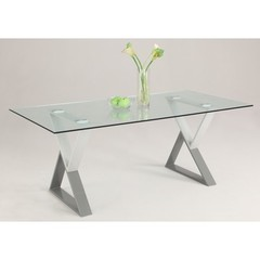 Buy Chintaly Imports Whitney 71x40 Rectangular Dining Table w/ Glass Top on sale online