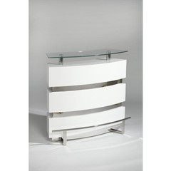 Buy Chintaly Imports Xenia 47x21 Contemporary Bar w/ Glass Top in White on sale online