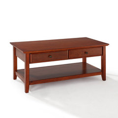 Buy Crosley Furniture 48x24 Coffee Table w/ Storage Drawers in Classic Cherry on sale online