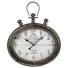 Buy Cooper Classics Amanda 25.75x21.25 Inch Round Clock in Distressed Brown and Black on sale online