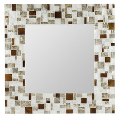 Buy Cooper Classics Barlow 31.5 Inch Square Mirror in White, Champagne and Amber on sale online