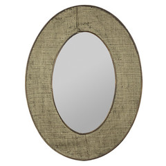 Buy Cooper Classics Brooklyn 31.75x23.75 Oval Mirror in Natural Burlap on sale online