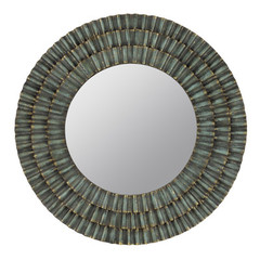 Buy Cooper Classics Dupont 41 Inch Round Mirror in Metal Distressed Sage on sale online