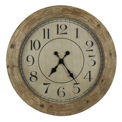 Buy Cooper Classics Fairbanks 31.5 Inch Round Clock in Distressed Wood on sale online
