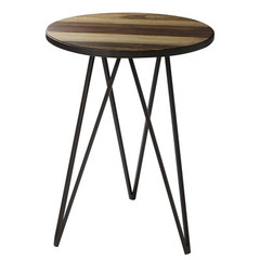 Buy Cooper Classics Jayson 19 Inch Round Side Table in Natural Rustic Wood and Bronze on sale online