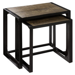 Buy Cooper Classics Laurens 21x14 Nested Tables (Set of 2) in Natural Rustic Wood and Bronze on sale online