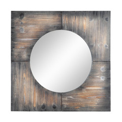 Buy Cooper Classics Laurent 31.5 Inch Square Mirror in Dark Natural Rustic Wood on sale online