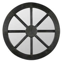 Buy Cooper Classics Maddox 27.5 Inch Round Mirror in Distressed Dark Gray on sale online