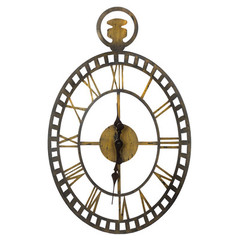 Buy Cooper Classics Malibu 30x19 Oval Clock in Rustic Bronze and Gold on sale online