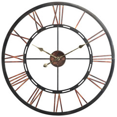 Buy Cooper Classics Mallory 27.5 Inch Round Clock in Aged Copper with Black Highlights on sale online