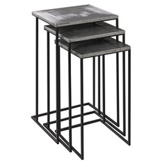 Buy Cooper Classics Nicholson 16x14 Nested Tables (Set of 3) in Silver and Black Metal on sale online