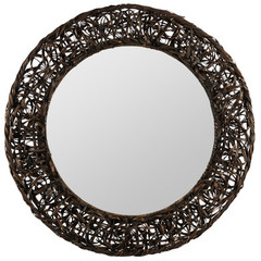 Buy Cooper Classics Rosalie 31 Inch Round Mirror in Chestnut Brown Rattan on sale online