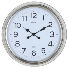 Buy Cooper Classics Wyeth 24 Inch Round Clock in Shiny Nickel on sale online