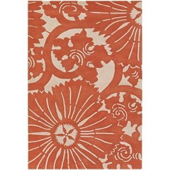 Buy Chandra Rugs Counterfeit Hand-Tufted Designer Orange Rug - COU18217 on sale online