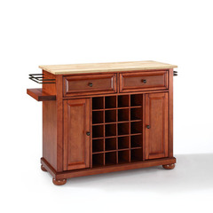 Buy Crosley Furniture Alexandria Natural Wood Top Wine Island in Classic Cherry on sale online