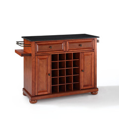 Buy Crosley Furniture Alexandria Solid Black Granite Top Wine Island in Classic Cherry on sale online
