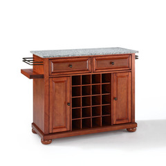 Buy Crosley Furniture Alexandria Solid Granite Top Wine Island in Classic Cherry on sale online