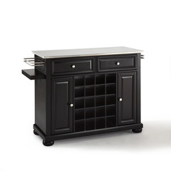 Buy Crosley Furniture Alexandria Stainless Steel Wine Island in Black on sale online