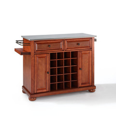 Buy Crosley Furniture Alexandria Stainless Steel Wine Island in Classic Cherry on sale online